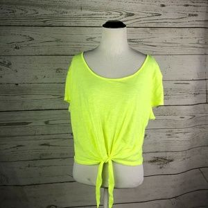 PINK Victoria's Secret Neon Yellow Tie Front Top